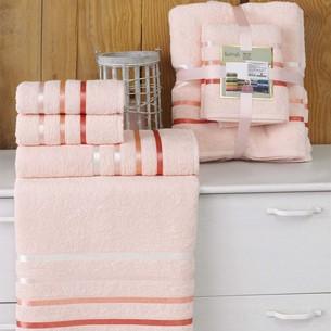 Подарочный набор полотенец для ванной Karna BALE хлопковая махра 50х80 2 шт., 70х140 2 шт. пудра