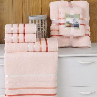 Подарочный набор полотенец для ванной Karna BALE хлопковая махра 50*80(2), 70*140(2) (пудра)