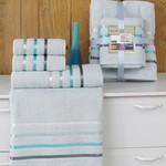 Подарочный набор полотенец для ванной Karna BALE хлопковая махра 50х80 2 шт., 70х140 2 шт. ментол, фото, фотография
