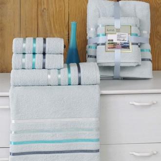 Подарочный набор полотенец для ванной Karna BALE хлопковая махра 50*80(2), 70*140(2) (ментол)