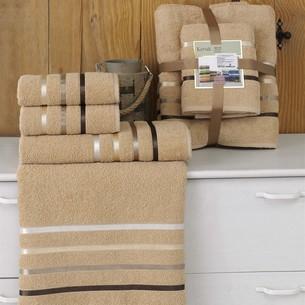 Подарочный набор полотенец для ванной Karna BALE хлопковая махра 50х80 2 шт., 70х140 2 шт. горчичный