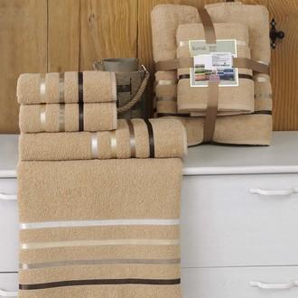 Подарочный набор полотенец для ванной Karna BALE хлопковая махра 50*80(2), 70*140(2) (горчичный)