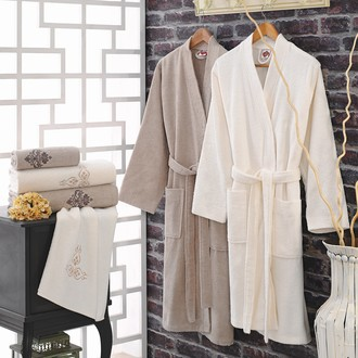 Набор халатов Cotton Box махра хлопок (кремовый+кофейный)