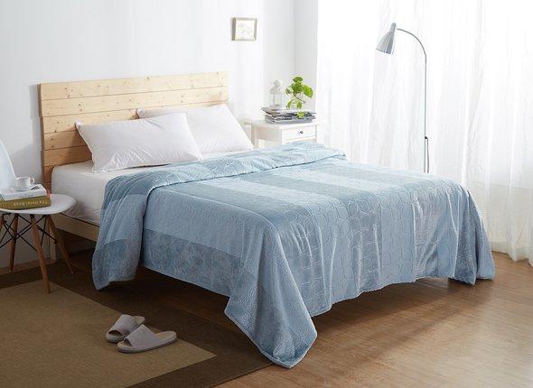 Плед-покрывало Karna PALMA велсофт (синий-саксен) 160*220, фото, фотография