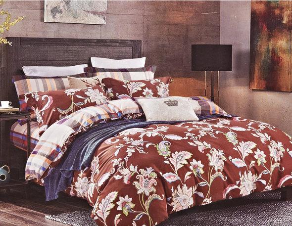 Комплект постельного белья Karna DELUX REGATA сатин хлопок евро, фото, фотография