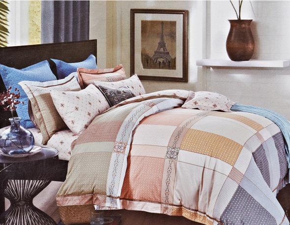 Комплект постельного белья Karna DELUX KRAFT сатин хлопок евро, фото, фотография