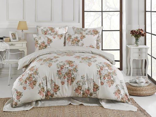 Комплект постельного белья Karna DELUX FLORKA сатин хлопок евро, фото, фотография