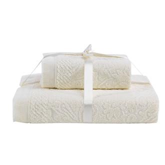 Набор полотенец Karna SAVINA 50*90, 70*140 махра хлопок (кремовый)
