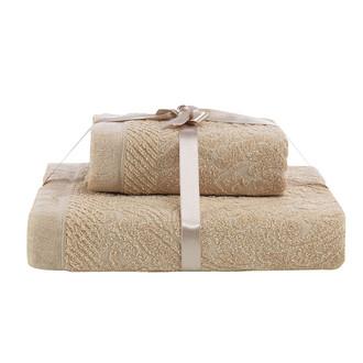 Набор полотенец Karna SAVINA 50*90, 70*140 махра хлопок (бежевый)