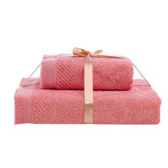 Набор полотенец Karna SAVINA 50*90, 70*140 махра хлопок (коралловый)