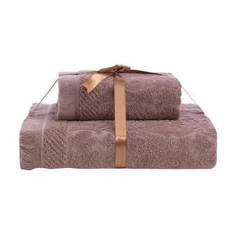 Набор полотенец Karna SAVINA 50*90, 70*140 махра хлопок (кофейный)