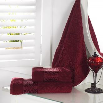Полотенце для ванной Karna SAHRA махра хлопок (бордовый)