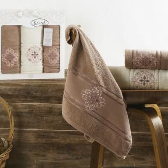 Набор полотенец банных в подарочной упаковке 50*90(2), 70*140 Karna SEHER махра хлопок (грязно-розовый)