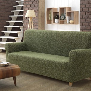 Чехол на диван Karna MILANO трикотаж зелёный трёхместный