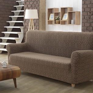 Чехол на диван Karna MILANO трикотаж коричневый двухместный