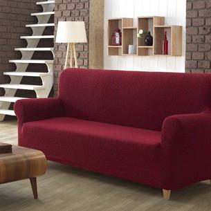 Чехол на диван Karna MILANO трикотаж бордовый трёхместный