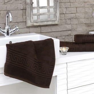 Полотенце для ванной Karna GREK махра бамбук+хлопок (коричневый)