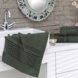 Полотенце для ванной Karna GREK махра бамбук+хлопок (тёмно-зелёный)