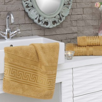 Полотенце для ванной Karna GREK махра бамбук+хлопок (горчичный)