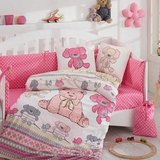 Комплект постельного белья для новорожденных Hobby TOMBIK поплин хлопок (розовый)