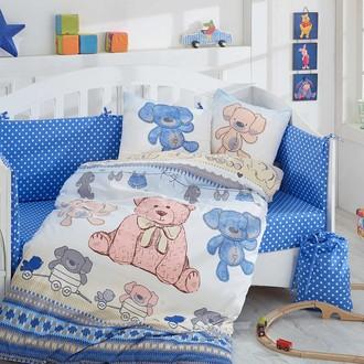 Набор в детскую кроватку для новорожденных Hobby TOMBIK поплин хлопок (голубой)