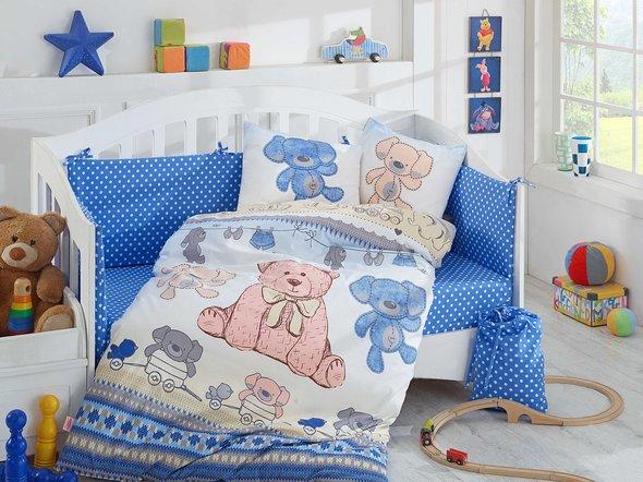 Набор в детскую кроватку для новорожденных Hobby TOMBIK поплин хлопок (голубой), фото, фотография