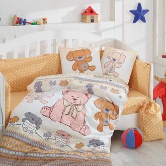 Набор в детскую кроватку для новорожденных Hobby TOMBIK поплин хлопок (жёлтый)
