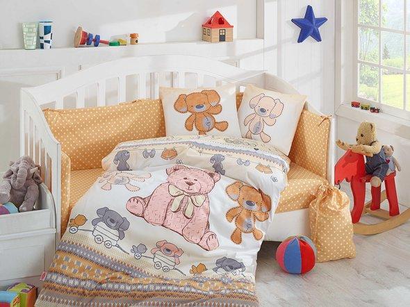 Набор в детскую кроватку для новорожденных Hobby TOMBIK поплин хлопок (жёлтый), фото, фотография