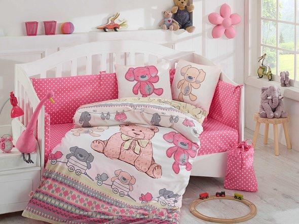 Набор в детскую кроватку для новорожденных Hobby TOMBIK поплин хлопок (розовый), фото, фотография