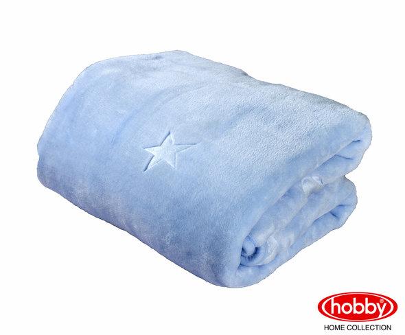 Детский плед-покрывало Hobby ОБЛАЧКО велсофт (голубой) 90*110, фото, фотография