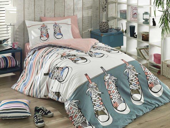 Комплект постельного белья Hobby LAYLA поплин хлопок (зелёный) 1,5 спальный, фото, фотография
