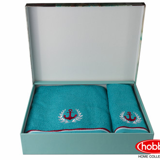 Подарочный набор полотенец для ванной 50*90, 70*140 Hobby MARITIM махра хлопок (бирюзовый)