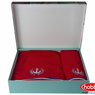 Подарочный набор полотенец для ванной 50*90, 70*140 Hobby MARITIM махра хлопок (красный)