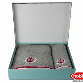 Подарочный набор полотенец для ванной 50*90, 70*140 Hobby MARITIM махра хлопок (серый)