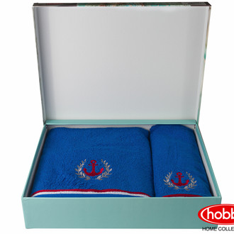 Подарочный набор полотенец для ванной 50*90, 70*140 Hobby MARITIM махра хлопок (синий)