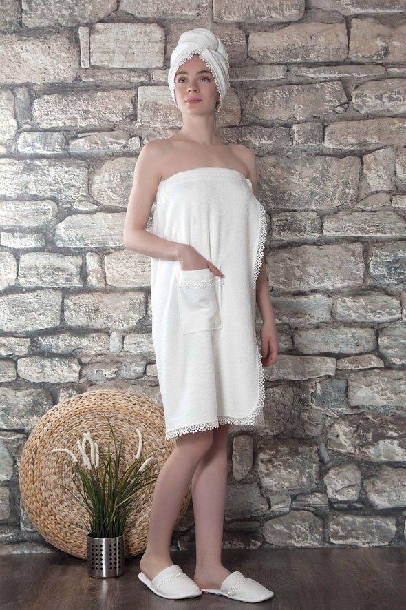Набор для сауны женский Karna GISELL бамбуковая махра (кремовый), фото, фотография