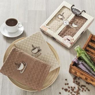 Набор кухонных полотенец в подарочной упаковке 40*60(2) Karna AFFAGATO COFFEE махра хлопок (V2)