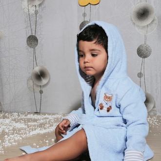 Халат детский Karna TEENY хлопковая махра (голубой)