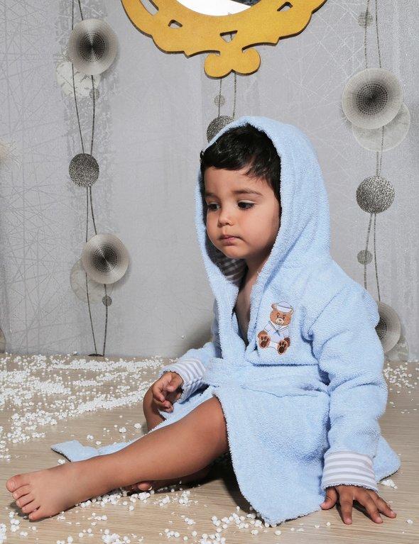 Халат детский Karna TEENY хлопковая махра (голубой) 4-5 лет, фото, фотография