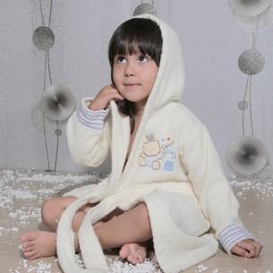 Халат детский Karna TEENY хлопковая махра кремовый 2-3 года