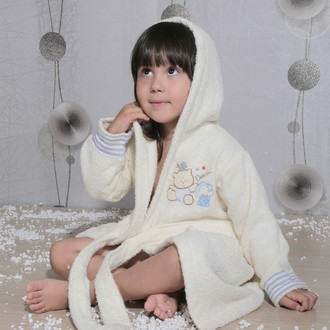 Халат детский Karna TEENY хлопковая махра (кремовый)