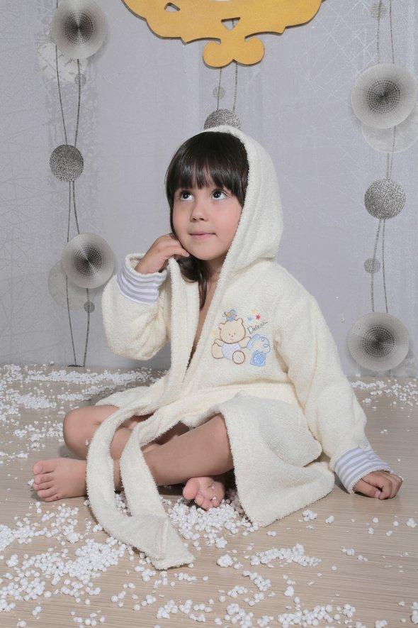 Халат детский Karna TEENY хлопковая махра (кремовый) 2-3 года, фото, фотография