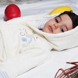 Халат детский Karna TEENY хлопковая махра экрю 4-5 лет
