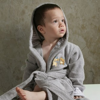 Халат детский Karna TEENY хлопковая махра серый