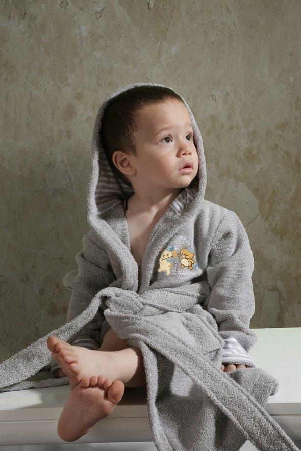 Халат детский Karna TEENY хлопковая махра (серый) 2-3 года, фото, фотография