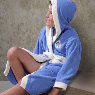 Халат детский Karna SILVER хлопковая махра голубой 6-7 лет
