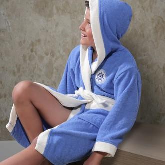 Халат детский Karna SILVER хлопковая махра (голубой)