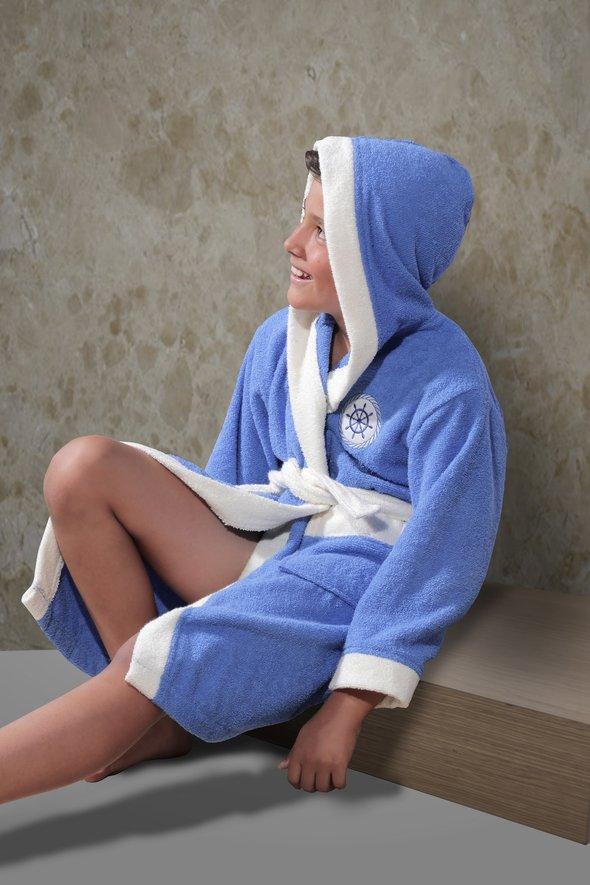 Халат детский Karna SILVER хлопковая махра (голубой) 8-9 лет, фото, фотография
