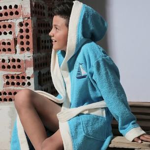 Халат детский Karna SILVER хлопковая махра бирюзовый 8-9 лет