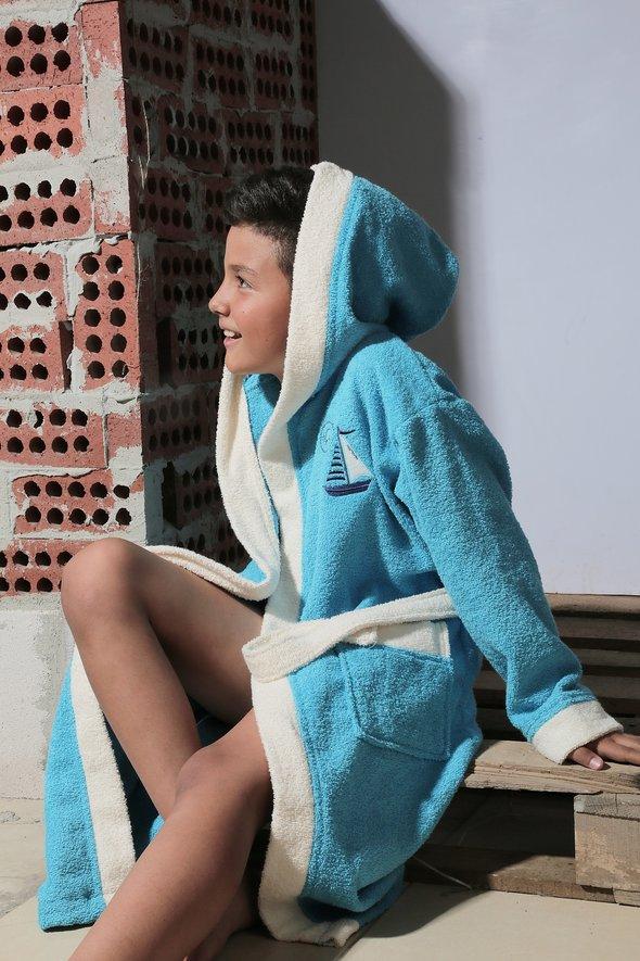Халат детский Karna SILVER хлопковая махра (бирюзовый) 8-9 лет, фото, фотография